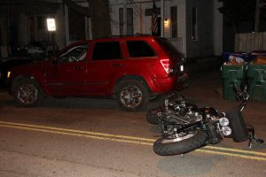 Rear-end motorcycle collision in San Diego